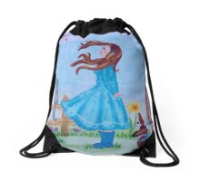 Lovely girl in february  Drawstring Bag