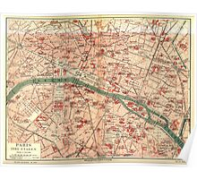 Vintage Map of Paris France (1910) Poster