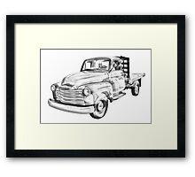 1950 Chevrolet Flat Bed Pickup Truck Illustration Framed Print