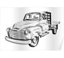 1950 Chevrolet Flat Bed Pickup Truck Illustration Poster