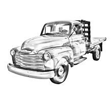 1950 Chevrolet Flat Bed Pickup Truck Illustration Photographic Print