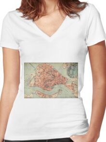 Vintage Map of Venice Italy (1920) Women's Fitted V-Neck T-Shirt