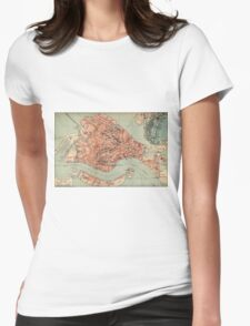 Vintage Map of Venice Italy (1920) Womens Fitted T-Shirt
