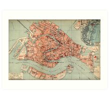 Vintage Map of Venice Italy (1920) Art Print
