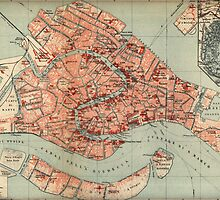 Vintage Map of Venice Italy (1920) by BravuraMedia