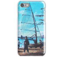 Sailing boat preparation at Weston Shore Southampton iPhone Case/Skin