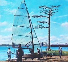 Sailing boat preparation at Weston Shore Southampton by martyee