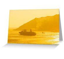Cargo ship under sunset Greeting Card