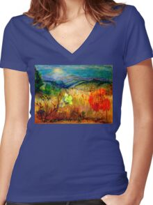At the Edge of Dreaming Fields Women's Fitted V-Neck T-Shirt