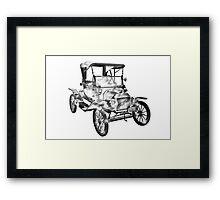 1914  Model T Ford Antique Car Illustration Framed Print