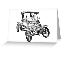 1914  Model T Ford Antique Car Illustration Greeting Card