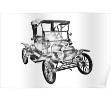 1914  Model T Ford Antique Car Illustration Poster
