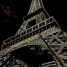 An Edge Line-art drawing of the Eiffel Tower by Dennis Melling