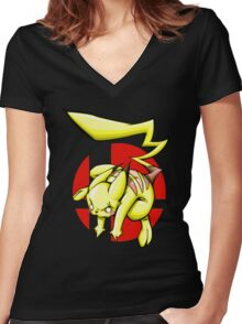 Pika smash bros Women's Fitted V-Neck T-Shirt