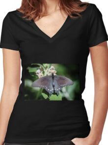 Spicebush Swallowtail Papilio Troilus Women's Fitted V-Neck T-Shirt