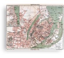 Vintage Map of Copenhagen Denmark (1888) Canvas Print