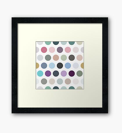 The pattern consists of multi-colored circles Framed Print