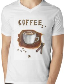 Cup of coffee with cinnamon sticks Mens V-Neck T-Shirt