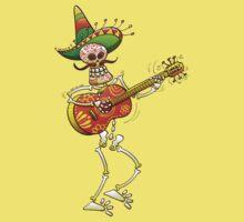 Mexican Skeleton Playing Guitar Kids Tee