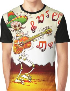 Mexican Skeleton Playing Guitar Graphic T-Shirt