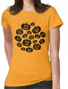 Contrast jack-o'-lantern pattern Womens Fitted T-Shirt