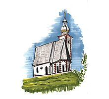 Old church sketch Photographic Print