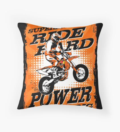 Supermoto Racing Throw Pillow