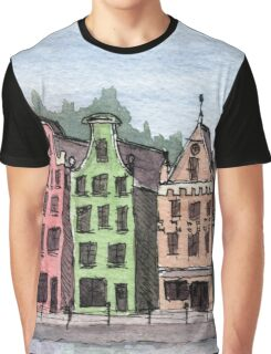 Amsterdam Street Scene - Watercolor Pen and Wash Graphic T-Shirt