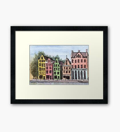 Amsterdam Street Scene - Watercolor Pen and Wash Framed Print