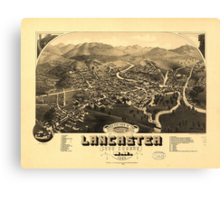 Vintage Pictorial Map of Lancaster NH (1883) Canvas Print