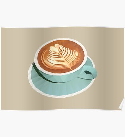 Coffee with Latte Art Polygon Art Poster