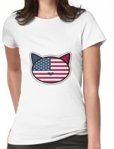 Meow American Flag Womens Fitted T-Shirt