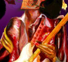 Skull guitar player with rose , fantasy art Sticker