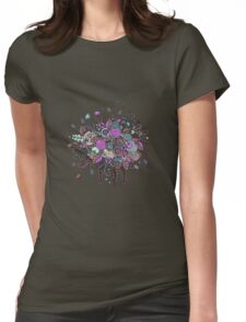 Bouquet from flowers, leaves, spirals, berries Womens Fitted T-Shirt