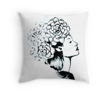flower woman portrait Throw Pillow