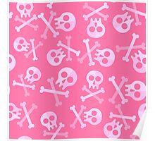 Cute Pink Skulls And Crossbones Poster