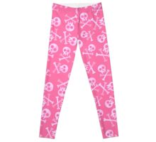 Cute Pink Skulls And Crossbones Leggings