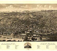 Vintage Pictorial Map of Albany New York (1879) by BravuraMedia