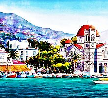 Tranquil harbour by painting-greece