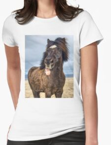 Icelandic horse showing his respect Womens Fitted T-Shirt