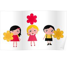 3 cute characters : Red, yellow and white Poster