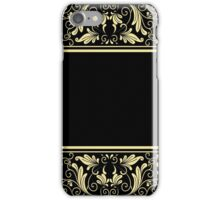 Black Gold Border Floral iPhone Case/Skin