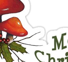 Merry Christmas, Toadstools, Holly, Twigs, Original Art, Holidays Sticker
