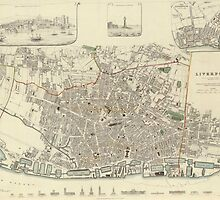 Vintage Map of Liverpool England (1836) by BravuraMedia