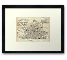 Vintage Map of Liverpool England (1836) Framed Print