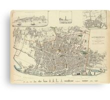 Vintage Map of Liverpool England (1836) Canvas Print