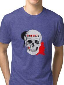 OHIO STATE SKULL STICKER AND LEGGINGS Tri-blend T-Shirt