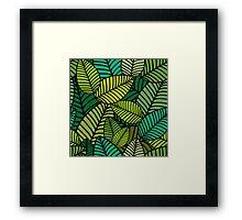 Deep Green Striped Leaves Framed Print