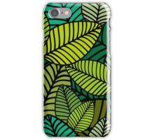 Deep Green Striped Leaves iPhone Case/Skin