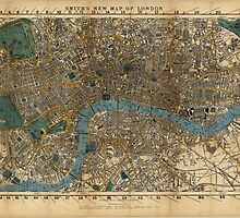 Vintage Map of London England (1860) by BravuraMedia